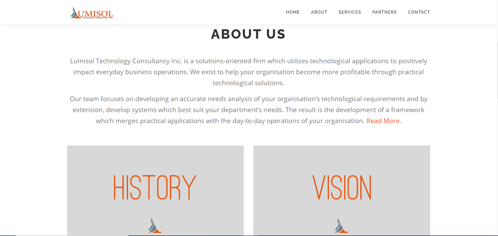 Lumisol Technology Consultancy About us screenshot